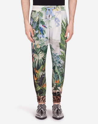 Dolce & Gabbana Silk Jogging Pants With Tropical Print And Strips