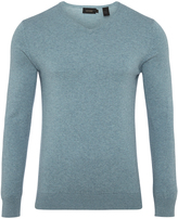 Oxford Basic Cotton V-Neck Blu Mel X