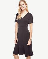 Ann Taylor Petite Crepe Flounce Dress