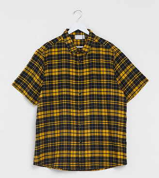 ASOS DESIGN Plus regular shirt in black and yellow tartan check