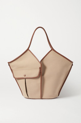 Hereu + Space For Giants Duna Large Leather-trimmed Organic Cotton-canvas Tote - Beige