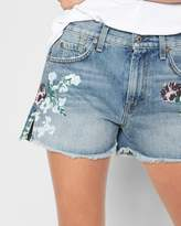 7 For All Mankind Cut Off Short with Hand Painted Floral and Side Split in Vintage Wythe