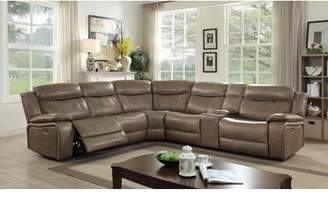 Online Tuscher Contemporary Leather Recliner Sectional Sofa (Small), Gray