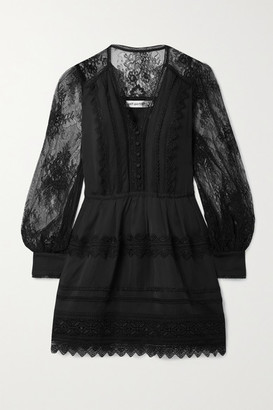 Self-Portrait Crochet-trimmed Crepe De Chine And Corded Lace Mini Dress - Black