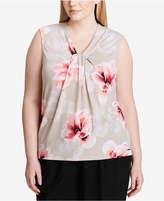 Calvin Klein Plus Size Twist-Neck Top