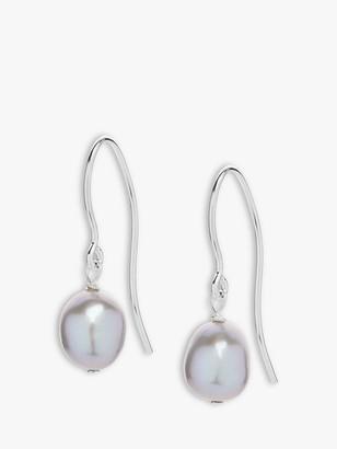 Claudia Bradby Baroque Freshwater Pearl Drop Earrings, Silver