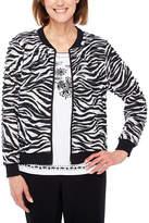 Alfred Dunner Upper East Side Lightweight Zebra Softshell Jacket-Petites