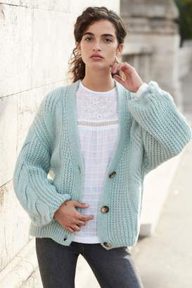 Next Womens Mint Cable Cardigan - Green