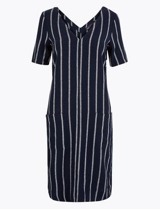 Marks and Spencer Linen Blend Striped V-Neck Shift Dress