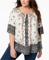 Style&Co. Style & Co Plus Size Off-The-Shoulder Mixed-Print Peasant Top, Created for Macy's