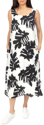 PINGPONG Sleeveless Mono Palm Print Dress