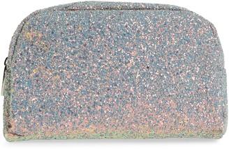 Skinnydip Crescent Teal Glitter Makeup Bag