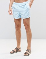 Asos Swim Shorts In Blue With Side Stripe In Short Length