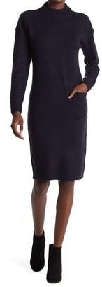 Cloth By Design Mock Neck Patch Pocket Sweater Dress