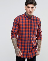 Scotch & Soda Shirt With Large Check In Regular Fit In Navy/Orange