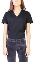 Prada Women's Cotton V-neck T-shirt Black.
