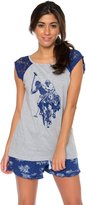 U.S. Polo Assn. Women's 2 Piece Printed Tank Top and Shorts Pajama Grey & Blue Set S