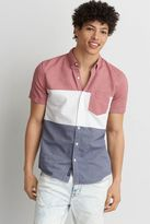 American Eagle Outfitters AE Colorblock Short Sleeve Oxford Shirt
