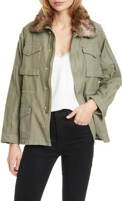 Frame Faux Fur Collar Service Jacket