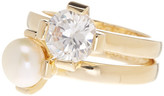 Cole Haan Freshwater Pearl & CZ Stack Ring Set - Size 7