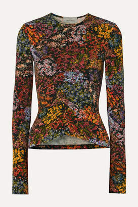 Preen by Thornton Bregazzi Norah Ruched Floral-print Stretch-crepe Top - Brown