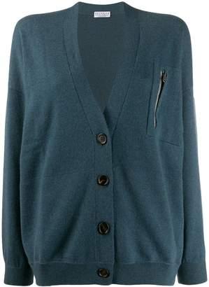 Brunello Cucinelli cashmere zip pocket cardigan