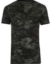 River Island Green Camo Print Muscle Fit T-shirt