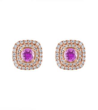 Heritage 18K Rose Gold 1.50 Ct. Tw. Diamond & Pink Sapphire Earrings