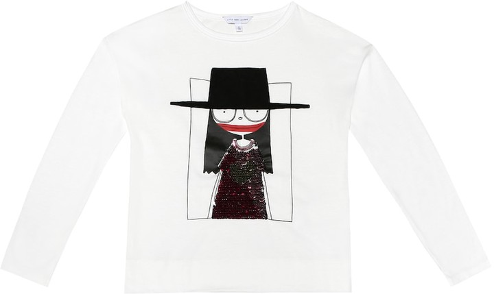 Little Marc Jacobs Sequined cotton-modal T-shirt