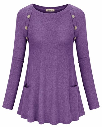 Cyanstyle Women's Casual Round Nedk Long Sleeve Loose Tunic Solid Button Blouses Shirt Tops Burgundy Small