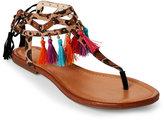 Jessica Simpson Leopard Kamel Tasseled Flat Sandals