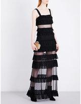 Alexis Ladies Black Contrast Concealed Zip Coral Mesh Maxi Dress