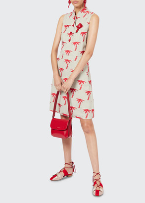 Giorgio Armani Palm-Tree Embroidered Sleeveless Shirtdress