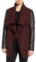 Mackage Asymmetrical Leather Sleeve Coat