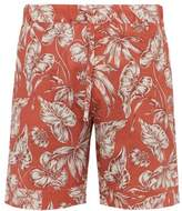 Desmond & Dempsey - Foliage Print Cotton Poplin Pyjama Shorts - Mens - Red