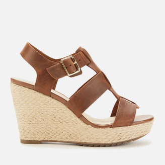 Clarks Women's Maritsa95 Glad Leather Wedged Sandals - Tan