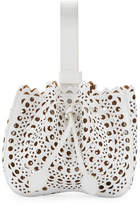 Alaia Lux Laser Cut Bucket Bag, White
