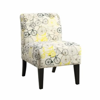 "Red Barrel Studio Batdorf 23"" W Revolution Performance Fabrics Slipper Chair Fabric: Cream/Green Floral"