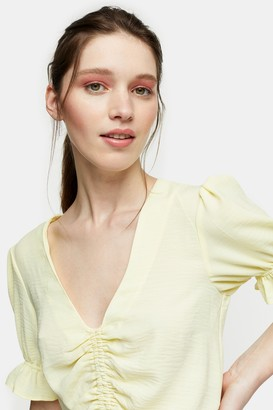 Topshop Womens Yellow Ruched Top - Lemon