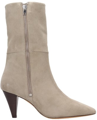 IRO Lilia High Heels Ankle Boots In Taupe Suede