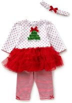 Little Me Baby Girls 3-12 Months Dotted/Solid Christmas Tree Tutu Dress & Striped Leggings Set