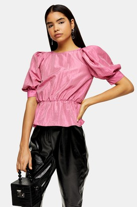 Topshop Womens Pink Short Sleeve Puff Taffeta Blouse - Pink