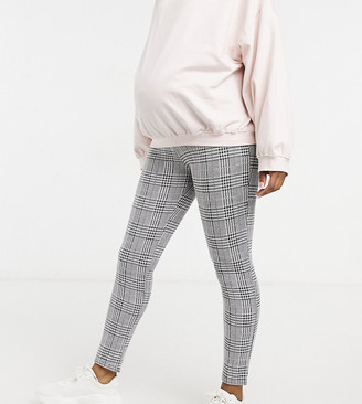 ASOS DESIGN Maternity skinny trouser in check jacquard