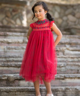 Couture Just Girls' Special Occasion Dresses - Red Plaid Magnolia Tulle-Overlay Shift Dress - Toddler & Girls