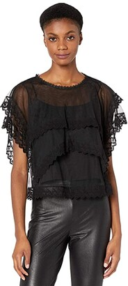 BCBGMAXAZRIA Tiered Lace Top (Black) Women's Dress