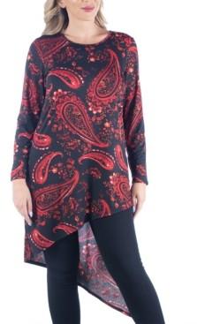 24seven Comfort Apparel Women's Plus Size Asymmetric Tunic Top