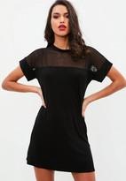 Missguided Black Mesh Panel T Shirt Dress