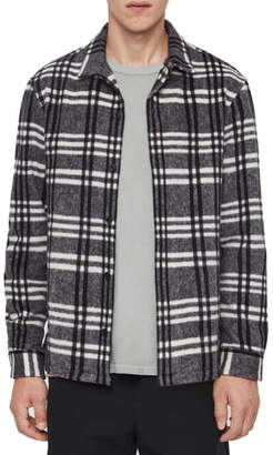 AllSaints Zenith Regular Fit Plaid Button-Up Fleece Overshirt