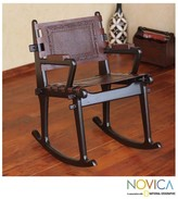 Novica Dark Colonial Country Rich Brown Hand Tooled Leather and Mohena Wood Rocking Chair (Peru)