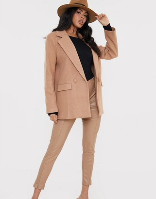 In The Style x Lorna oversized blazer coat in tan